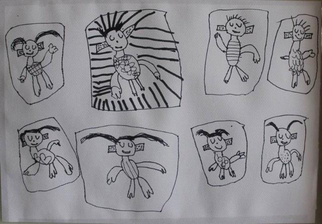 幼儿园简笔画小朋友喝水