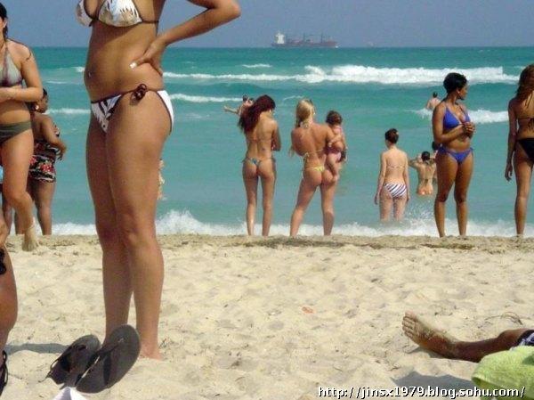 实拍美国迈阿密街景和海滩比基尼美女