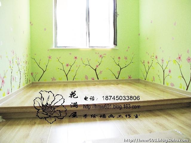 哈尔滨花满屋手绘墙画--剪影般的大树--悦山国际