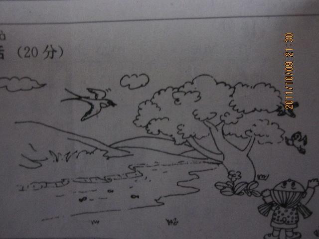 柳树 燕子简笔画