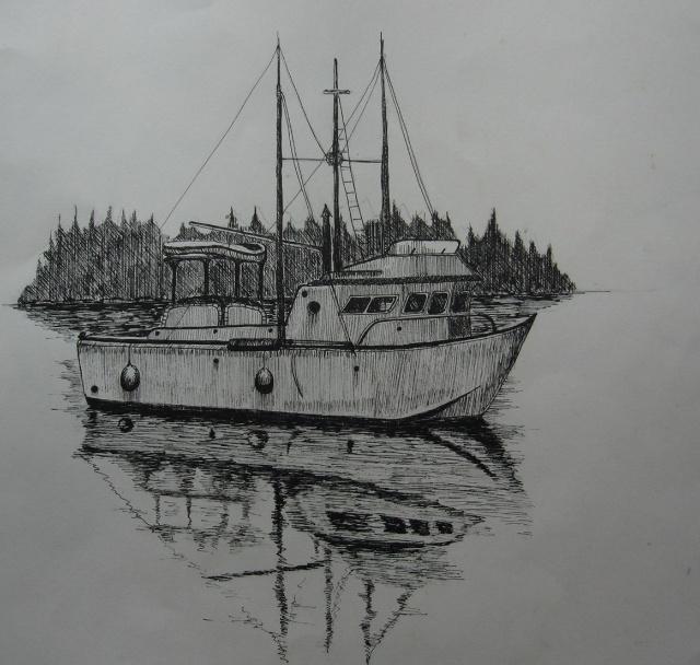 我画的钢笔画:宁静的小船(临摹)