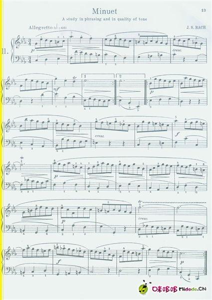 【钢琴曲谱】c小调小步舞曲选自第二法国组曲 bwv813