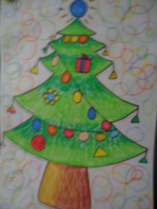 油水分离画圣诞树