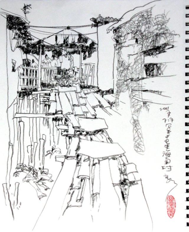 古镇写生速写钢笔画