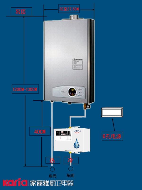 燃气热水器及预热循环系统安装图纸示意图和安高高度纸精度模型图片