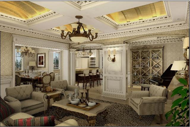 法式风格壁纸,得高地板,仿古金银箔,白色造型墙裙,泛太平洋石膏线