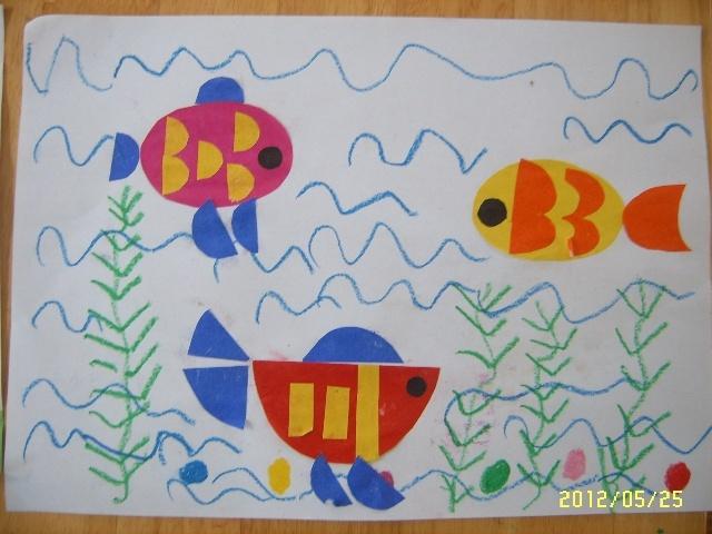 我们中班年级组举行了幼儿拼贴画比赛