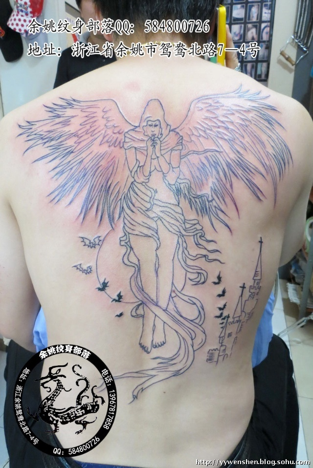审判天使纹身_坠落天使满背纹身手稿内容图片分享